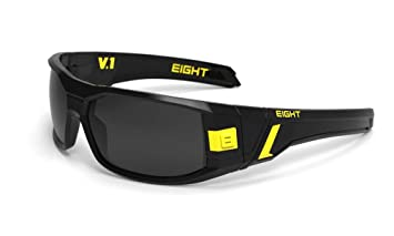 0d3f6cf59a8 Image Unavailable. Image not available for. Colour  Eight Eyewear V1  Sunglasses Gloss Black Yellow With Dark Gray Polarized Lens