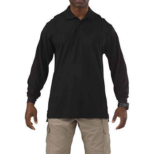 (5.11 Tactical Long Sleeve Tall Professional Polo Shirt, Black, Large)