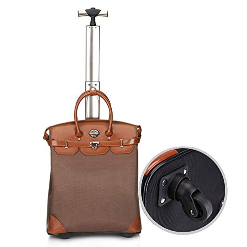 Universal wheel Laptop Case Wheeled Briefcase Suitcase Roller Boarding Under Seat Case, Super Lightweight Travel Carry on Cabin with Integrated Handbag Compartment.-Light Brown,18in