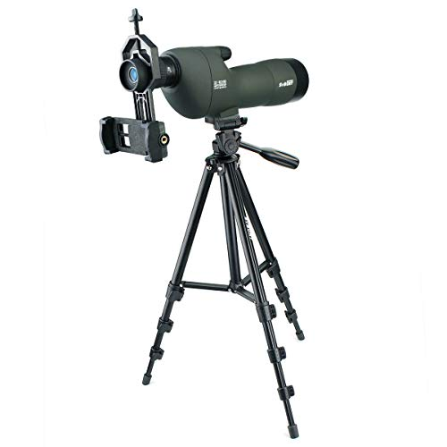 SVBONY SV28 20-60x60 Spotting Scopes Straight Scope Telescope for Bird Watching Target Shooting Hunting Waterproof Spotting Scopes 4-section Tripod Tabletop Tripod Cell Phone Adapter