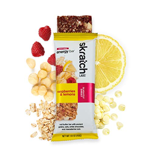 SKRATCH LABS Anytime Energy Bar, Raspberries and Lemons, (12 pack single serving) Natural, Low Sugar, Gluten Free, Vegan, Kosher, Dairy Free