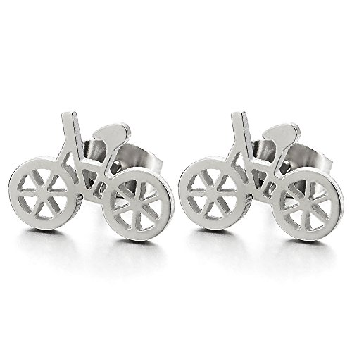 2Pcs Stainless Steel Bicycle Bike Stud Earrings for Girl and Women