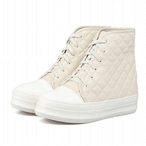 Comfort Voet Dames Comfort Winter Plateau Veter Verborgen Hak Enkellaarsjes Off White