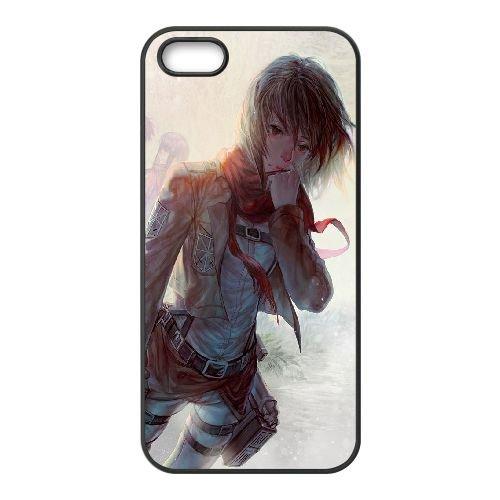 Mikasa Ackerman Attack On Titan coque iPhone 4 4S Housse téléphone Noir de couverture de cas coque EOKXLKNBC25967