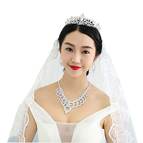Serdokntbig Bridal Wedding Crystal Rhinestone Design Accessory Sparkle Heart W/Flower Bridal Tiaras Necklace Clip Earring - Rhinestone Earrings Clip