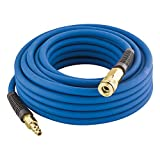 "Estwing E1450PVCR 1/4"" x 50' PVC / Rubber Hybrid Air Hose with Fittings Lightweight Kink-Resistant Compressed Air Hose with Solid Brass Couplings"