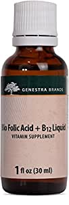 Genestra Brands - Bio Folic Acid + B12 Liquid - Vegan B Vitamin Liquid - Natural Cherry Flavor - 1 fl. oz.