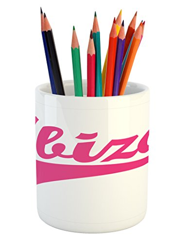 Lunarable Ibiza Pencil Pen Holder, Retro Hand Lettering Balearic Islands South Spain Cursive Writing and Stripe, Printed Ceramic Pencil Pen Holder for Desk Office Accessory, Pink and White by Lunarable