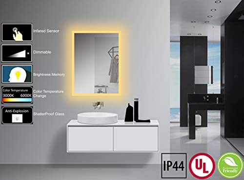 Yukon 24x32 inch Large LED Lighted Wall Mounted Bathroom Mirror with Infrared Sensor Switch. High Lumen+CRI>90, Dimmable Warm White/Daylight+IP44 Waterproof+Vertical & Horizontal+Eco-Friendly Mirror