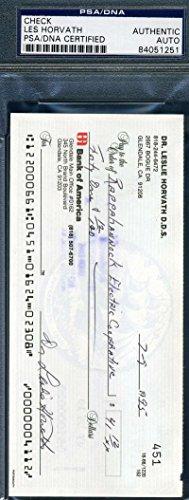 LES HORVATH PSA DNA COA Autograph Check Hand Signed Authentic