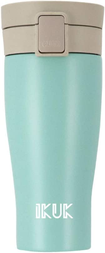 IKUK Porcelain Lining/Stainless Steel Thermos, 18-Ounce Vacuum Insulated Beverage Bottle/Travel Mug with Flip Top Lid