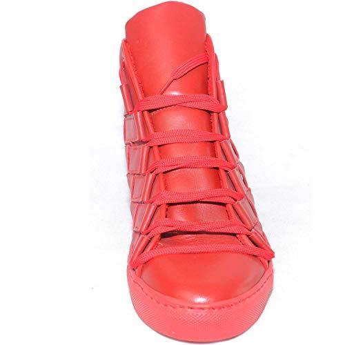 Mano Grande Italy Vera Rosso Sneakers A Alta In Uomo Pelle Intreccio Scarpe Made Top wqp8xvYp