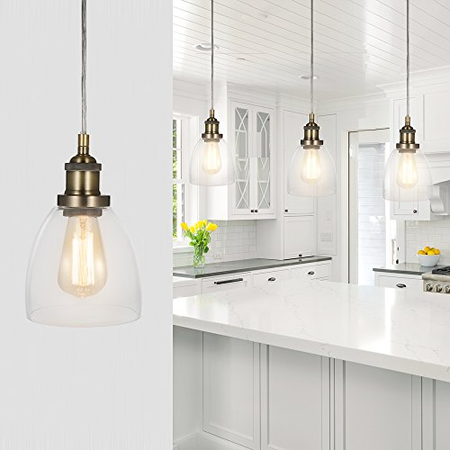Tomshine Pendant Lighting Shade Mini Clear Glass One-light Hanging Kitchen Light Fixture Replacement Modern E26 Ceiling Lighting Oil Rubbed Bronze Lamp Shades for Farmhouse (Replacement Glass Outdoor Fixture)