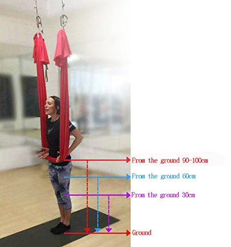 KIKIGOAL 5M Yoga Pilates Aerial Silk Kit Yoga Swing Aerial Yoga Antigravity Hammock Trapeze Silk Fabric for Yoga Strap Bodybuilding (red)
