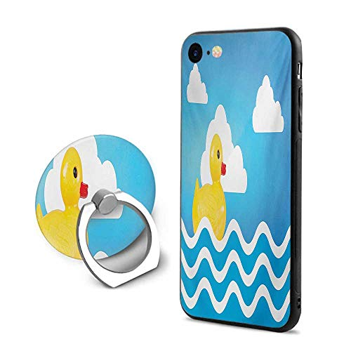 (Rubber Duck iPhone 6 Plus/iPhone 6s Plus Cases,Yellow Cute Childrens Toy Figure on Wavy Water Inspired Stripes Clouds Yellow White Blue,Design Mobile Phone Shell Ring Bracket)