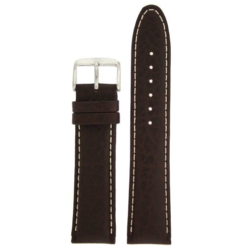 Extra Thick Padded Watch Band Genuine Leather Dark Brown 22 millimeters White Stitching Tech Swiss by Tech Swiss