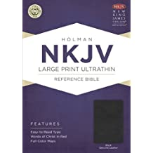 NKJV Large Printe Ultrathin Reference Bible, Black Genuine Leather with Ribbon Marker
