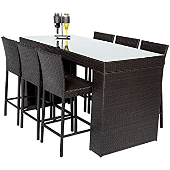 TK Classics NAPA BARTABLE WITHBACK 6 7 Piece Napa Bar Table Set With