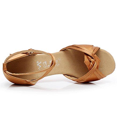 Azbro Mujer Zapato de Baile Salón Suela Suave con Puntera Abierta Desnudo