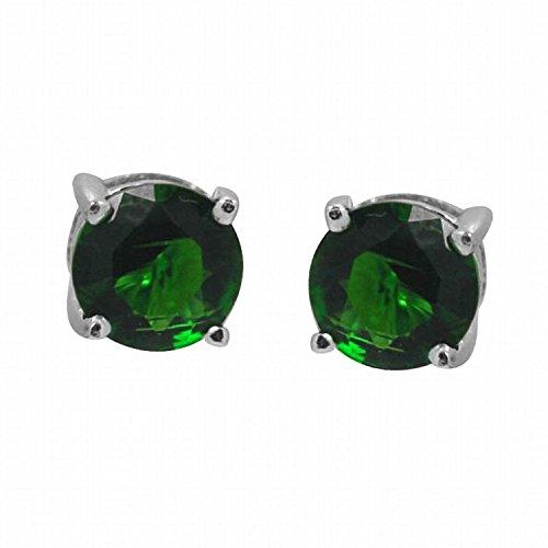 Earrings Emerald Genuine Silver (De Buman Sterling Silver Birthstone 5mm Round Genuine Gemstone Stud Earrings (MAY-Created Emerald))