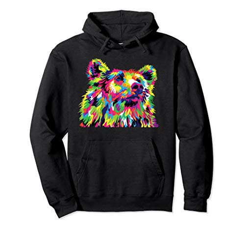 (Psychedelic Trippy Rainbow Grizzly Bear Head Hoodie)