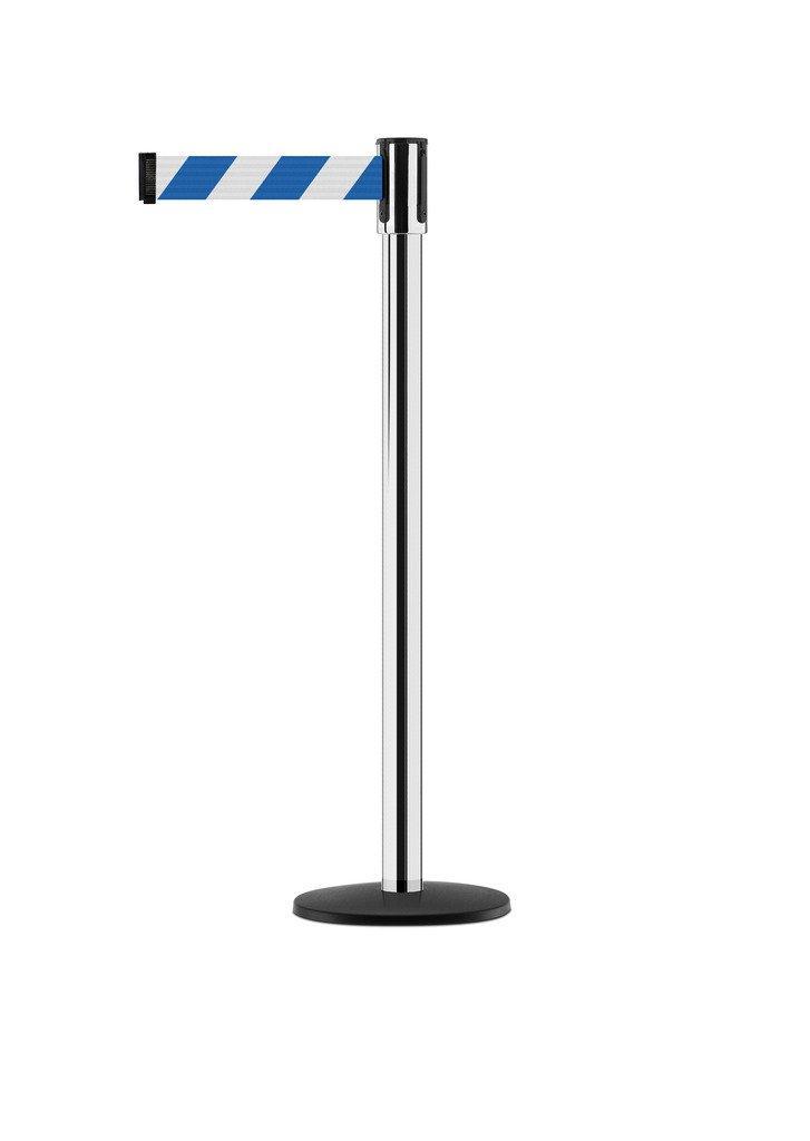 Tensabarrier - 890B-33-1P-1P-STD-NO-D1X-C - polished chrome post, 2'' wide, 7'6'' length Chevron Blue & White belt