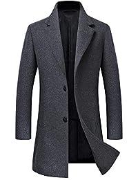 b976c13d8e1 Men s Trench Coat Wool Blend Slim Fit Jacket Single Breasted Business Top  Coat FSSSTF