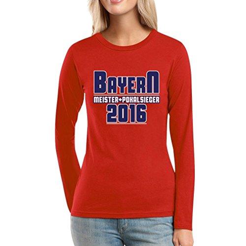 Bayern Meister und Pokalsieger 2016 Fanshirt Frauen Langarm-T-Shirt XX-Large Rot