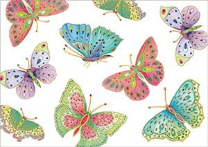Butterflies Gift Wrap - Entertaining with Caspari 8898RSC Ivory Roll of Gift Wrap, Jeweled Butterflies