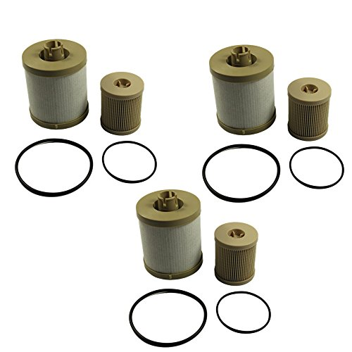 Price comparison product image CARMOCAR For Ford 6.0L 2003-2007 Diesel Fuel Filter 3 Pack includes lower lifter pump filter and upper fuel bowl filter FD4604 Ford F250 F350 F450 F550 F650 EXCURSION FD-4604 FD-4616 Replacements