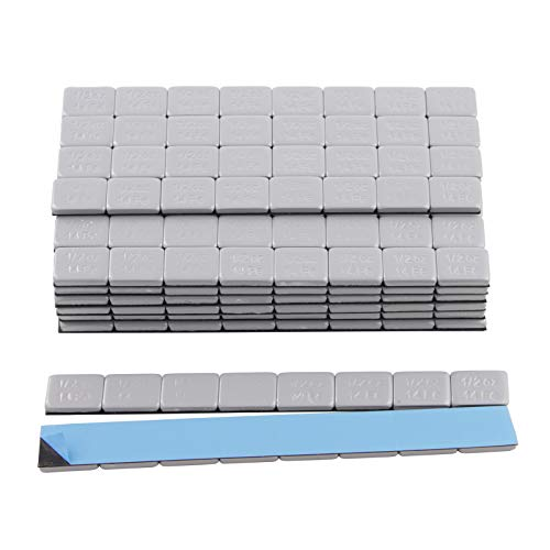 StanceMagic - 1 Box - 1/2oz (0.5oz) Adhesive Stick On Wheel Weights, 384pcs (48 4-oz strips), 192oz (12 lbs) Total Net Weight, Zinc Plated, Easy Peel, Low Profile, Silver/Grey/Gray