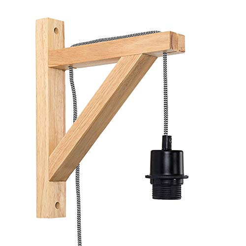 Wooden Wall Lamp, Motent Vintage Industrial Pendant Lampholder with Wood Bracket, Modern Minimalist Adjustable 1-Light Cord Kit in Plug Wall Mounted Lighting Fixture, with E26 Socket for Club Loft Bar - Classic Fluorescent Hanging Lantern