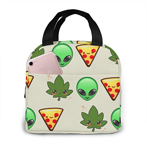 Weed Alien Face Pizza Lunch Box Gourmet Lunchbox Container for Adults/Men/Women, Gym Hiking Picnic Travel Beach Lunch Organizer Compact Totebag to Keep Food Hot/Cold