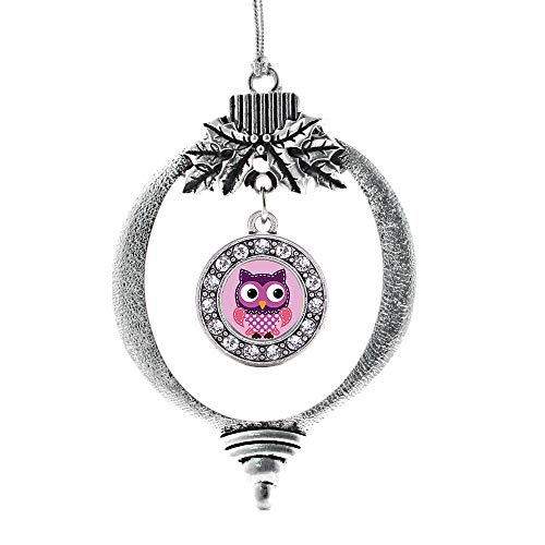 Inspired Silver - Cute Owl Charm Ornament - Silver Circle Charm Holiday Ornaments with Cubic Zirconia Jewelry