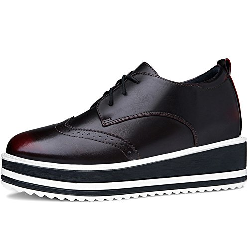 U-mac Dames Verhoogd Binnen Sneakers Ronde Neus Antislip Dikke Zool Chique Schoenen Scarlet