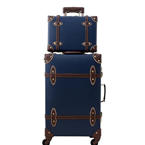 - Travel Vintage Luggage Sets Cute Trolley Suitcases Set Lightweight Trunk Retro Style for Women Retro Blue 22