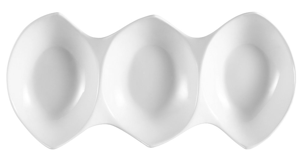 CAC China COL-3 Porcelain 3 Divided Bowls, 14-3/4 by 7 by 2-1/4-Inch, Super White, Box of 12 by CAC China (Image #1)