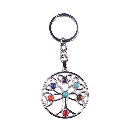 JOYA GIFT 7 Chakra Tree of Life Pendant Keychain Door Car Key Chain Tags Keyring Ring Chain for Women and Men DIY Healing Necklace