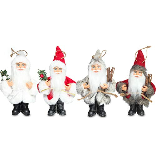 Ornament Santa Tree Christmas Claus (Costyleen Christmas Santa Claus Figure Decoration Ornament Gift Small Doll Toy Table Home Decor Festival Pendant Large Xmas Tree Hanging 4pc - 6.5'')