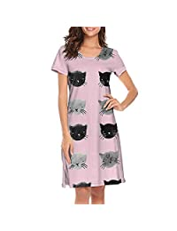 Uniluckie Sleepwear Womens Pajama Cat Cartoon Full Length Scoopneck Loungewear
