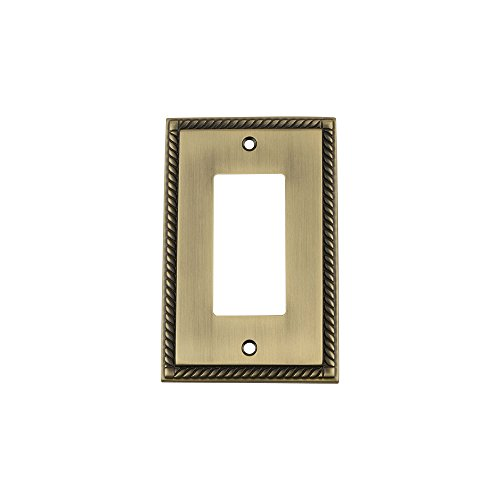 719749 Rope Switch Plate with Single Rocker, Antique Brass (Brass Rope Plate)