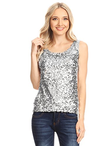 Anna-Kaci Womens Sequin Metallic Sparkly Cocktail Party Sleeveless Tank Top, Silver, Small