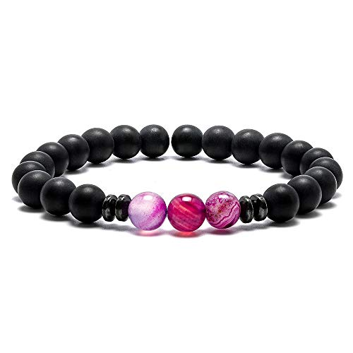 M MOOHAM Stone Bead Bracelets - 8mm Natural Black Matte Agate Stone Spacer Beads Bracelet, Men Women Stress Relief Yoga Beads Elastic Semi-Precious Stone Purple Agate Beads Bracelet Bangle
