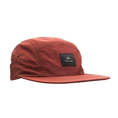 Tillak Wallowa Camp Hat, Lightweight Nylon 5 Panel Cap with Snap Closure (Supai Red)