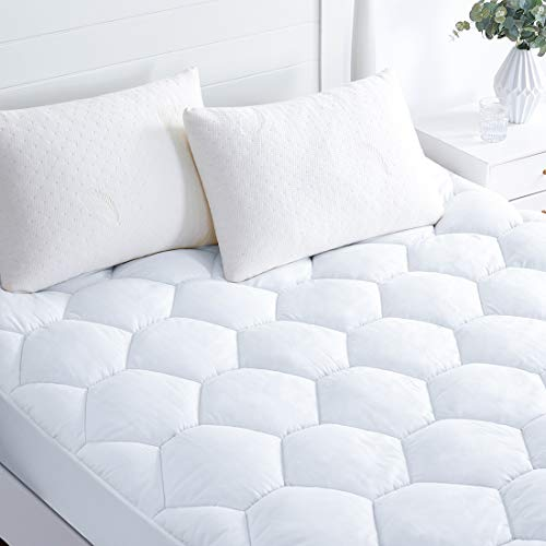 Favorland Mattress Pad Cover Queen- Hypoallergenic Quilted Fitted Down Alternative Filled Luxury Mattress Topper,Cooling,Breathable and Soft with Deep Pocket