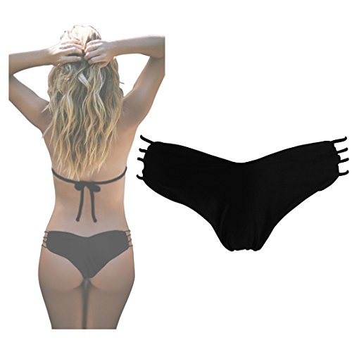 Ayliss® Damen Herzförmig Bikinislip Bikinihose Bikini Slip Bottom Beachwear, Leopard Schwarz Schädel (M =US S, Schwarz)