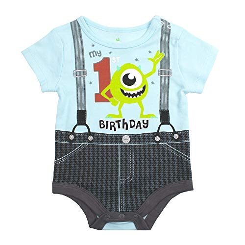 (Disney Monsters INC My 1st Birthday Bodysuit Baby Boys First Birthday Onesie (18M) Blue )