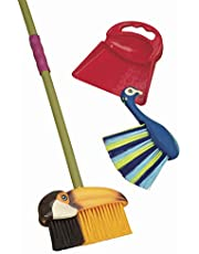 B. toys – Tropicleania Toy Broom Set – Pretend Play Toy Cleaning Playset with 1 Toucan Broom, 1 Dustpan & 1 Peacock Hand Broom For Kids 3 Y+ (3-Pcs)