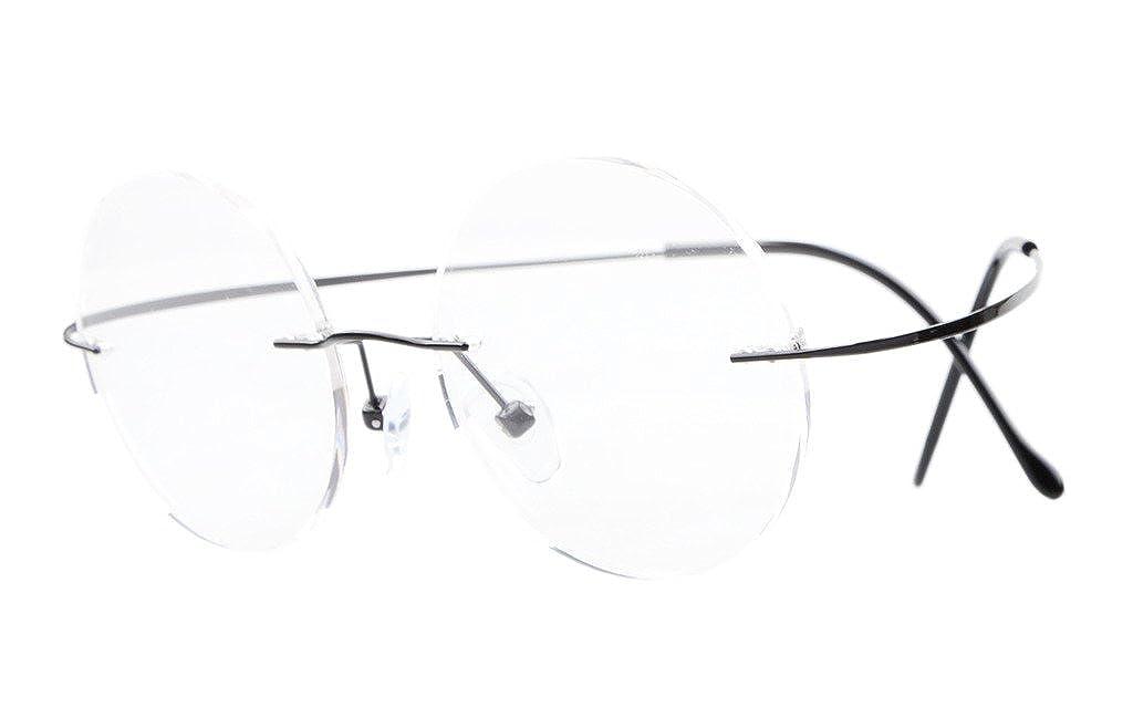 59668e9dd792 Amazon.com  Eyekepper Titanium Rimless Round Eyeglasses 43mm Circle Optical  Frame Black  Clothing