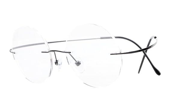aaf6415d23 Eyekepper Titanium Rimless Round Eyeglasses 43mm Circle Optical Frame Black